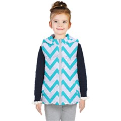 Chevron9 White Marble & Turquoise Colored Pencil (r) Kid s Puffer Vest by trendistuff
