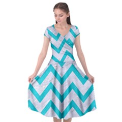 Chevron9 White Marble & Turquoise Colored Pencil (r) Cap Sleeve Wrap Front Dress