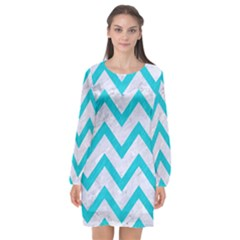 Chevron9 White Marble & Turquoise Colored Pencil (r) Long Sleeve Chiffon Shift Dress  by trendistuff