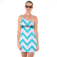 Chevron9 White Marble & Turquoise Colored Pencil (r) One Soulder Bodycon Dress by trendistuff