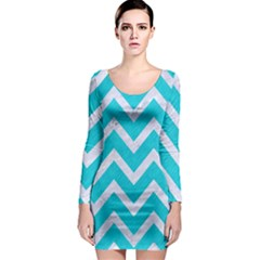Chevron9 White Marble & Turquoise Colored Pencil Long Sleeve Bodycon Dress by trendistuff
