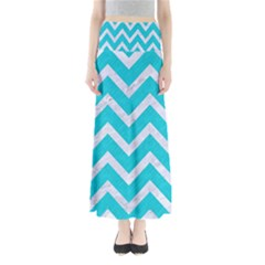 Chevron9 White Marble & Turquoise Colored Pencil Full Length Maxi Skirt by trendistuff