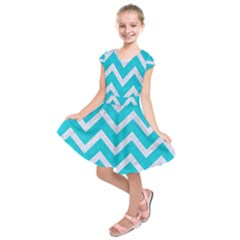 Chevron9 White Marble & Turquoise Colored Pencil Kids  Short Sleeve Dress by trendistuff