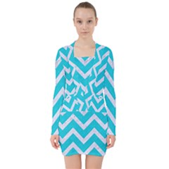 Chevron9 White Marble & Turquoise Colored Pencil V Neck Bodycon Long Sleeve Dress by trendistuff