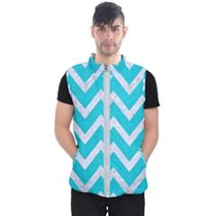 Chevron9 White Marble & Turquoise Colored Pencil Men s Puffer Vest by trendistuff