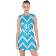Chevron9 White Marble & Turquoise Colored Pencil Lace Up Front Bodycon Dress by trendistuff