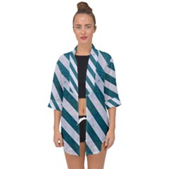Stripes3 White Marble & Teal Leather Open Front Chiffon Kimono by trendistuff