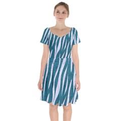 Skin3 White Marble & Teal Leather Short Sleeve Bardot Dress by trendistuff