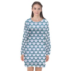 Scales3 White Marble & Teal Leather (r) Long Sleeve Chiffon Shift Dress  by trendistuff