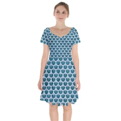 Scales3 White Marble & Teal Leather Short Sleeve Bardot Dress