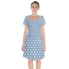 Scales2 White Marble & Teal Leather (r) Short Sleeve Bardot Dress