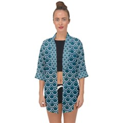 Scales2 White Marble & Teal Leather Open Front Chiffon Kimono by trendistuff