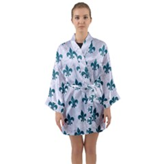 Royal1 White Marble & Teal Leather Long Sleeve Kimono Robe by trendistuff