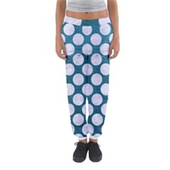 Circles2 White Marble & Teal Leather Women s Jogger Sweatpants by trendistuff