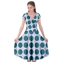Circles1 White Marble & Teal Leather (r) Cap Sleeve Wrap Front Dress by trendistuff
