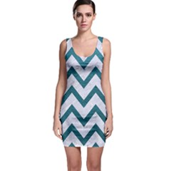 Chevron9 White Marble & Teal Leather (r) Bodycon Dress by trendistuff