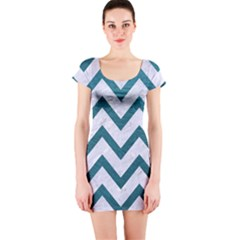 Chevron9 White Marble & Teal Leather (r) Short Sleeve Bodycon Dress by trendistuff