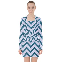 Chevron9 White Marble & Teal Leather (r) V Neck Bodycon Long Sleeve Dress by trendistuff