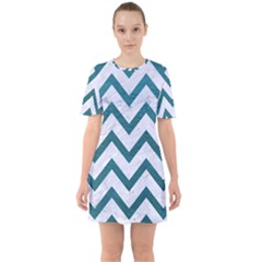 Chevron9 White Marble & Teal Leather (r) Sixties Short Sleeve Mini Dress by trendistuff