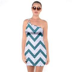 Chevron9 White Marble & Teal Leather (r) One Soulder Bodycon Dress by trendistuff