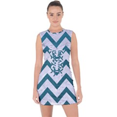 Chevron9 White Marble & Teal Leather (r) Lace Up Front Bodycon Dress by trendistuff