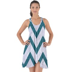 Chevron9 White Marble & Teal Leather (r) Show Some Back Chiffon Dress by trendistuff