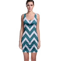 Chevron9 White Marble & Teal Leather Bodycon Dress by trendistuff