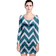Chevron9 White Marble & Teal Leather Long Sleeve Bodycon Dress by trendistuff