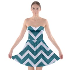Chevron9 White Marble & Teal Leather Strapless Bra Top Dress by trendistuff