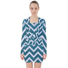 Chevron9 White Marble & Teal Leather V Neck Bodycon Long Sleeve Dress by trendistuff