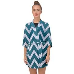 Chevron9 White Marble & Teal Leather Half Sleeve Chiffon Kimono by trendistuff