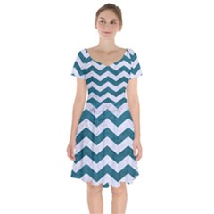 Chevron3 White Marble & Teal Leather Short Sleeve Bardot Dress by trendistuff