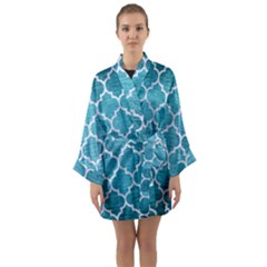 Tile1 White Marble & Teal Brushed Metal Long Sleeve Kimono Robe by trendistuff