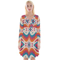 Symmetric Distorted Shapes                                 Long Sleeve Front Wrap Dress