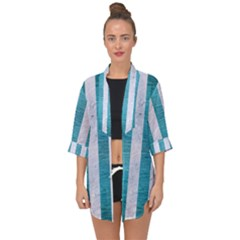 Stripes1 White Marble & Teal Brushed Metal Open Front Chiffon Kimono