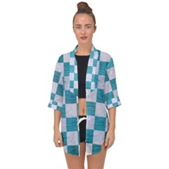 Square1 White Marble & Teal Brushed Metal Open Front Chiffon Kimono by trendistuff