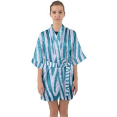 Skin4 White Marble & Teal Brushed Metal Quarter Sleeve Kimono Robe by trendistuff