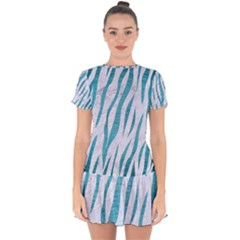 Skin3 White Marble & Teal Brushed Metal (r) Drop Hem Mini Chiffon Dress by trendistuff