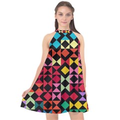 Colorful Rhombus And Triangles                             Halter Neckline Chiffon Dress by LalyLauraFLM
