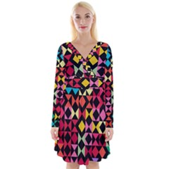 Colorful Rhombus And Triangles                                   Long Sleeve Front Wrap Dress