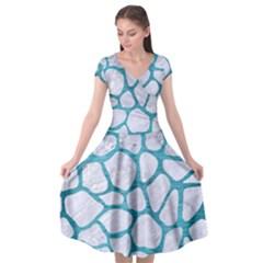 Skin1 White Marble & Teal Brushed Metal Cap Sleeve Wrap Front Dress by trendistuff