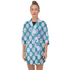 Circles2 White Marble & Teal Brushed Metal Half Sleeve Chiffon Kimono