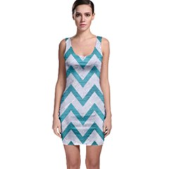 Chevron9 White Marble & Teal Brushed Metal (r) Bodycon Dress by trendistuff