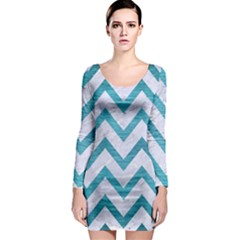 Chevron9 White Marble & Teal Brushed Metal (r) Long Sleeve Bodycon Dress by trendistuff