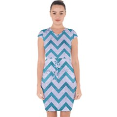 Chevron9 White Marble & Teal Brushed Metal (r) Capsleeve Drawstring Dress  by trendistuff