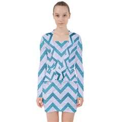 Chevron9 White Marble & Teal Brushed Metal (r) V Neck Bodycon Long Sleeve Dress by trendistuff