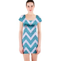 Chevron9 White Marble & Teal Brushed Metal Short Sleeve Bodycon Dress by trendistuff