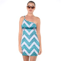 Chevron9 White Marble & Teal Brushed Metal One Soulder Bodycon Dress by trendistuff