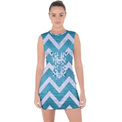 Chevron9 White Marble & Teal Brushed Metal Lace Up Front Bodycon Dress by trendistuff