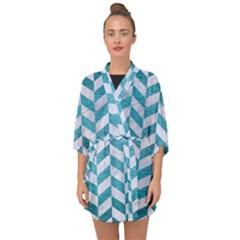 Chevron1 White Marble & Teal Brushed Metal Half Sleeve Chiffon Kimono by trendistuff